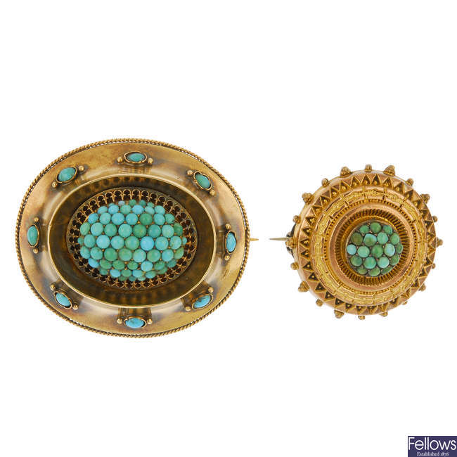 Two late 19th century turquoise memorial brooches.