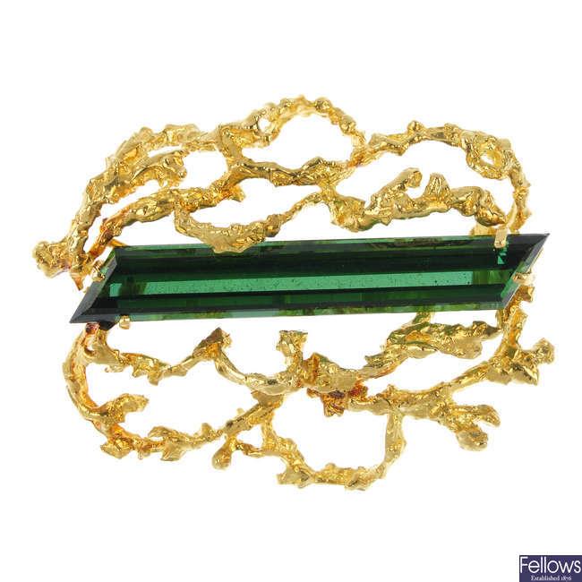 A 1960s tourmaline brooch.