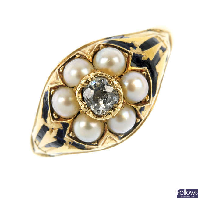 A late Victorian diamond, split pearl and enamel memorial ring.