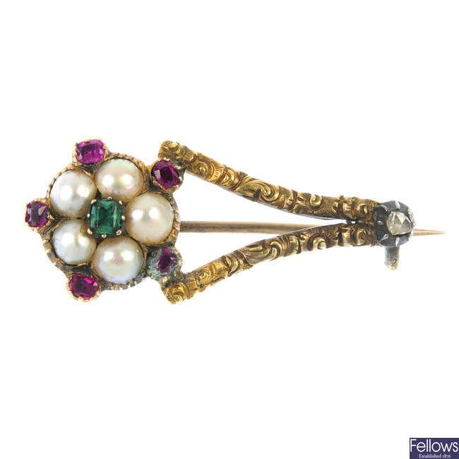An early Victorian gem-set brooch.