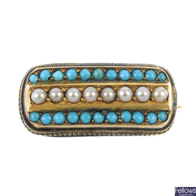 A George IV turquoise and split pearl brooch.