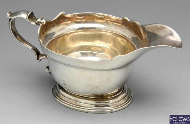 A George II silver sauce boat, London 1732.