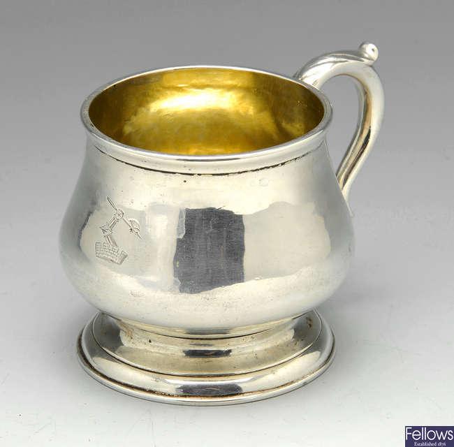 A George III silver christening mug by Hester Bateman.