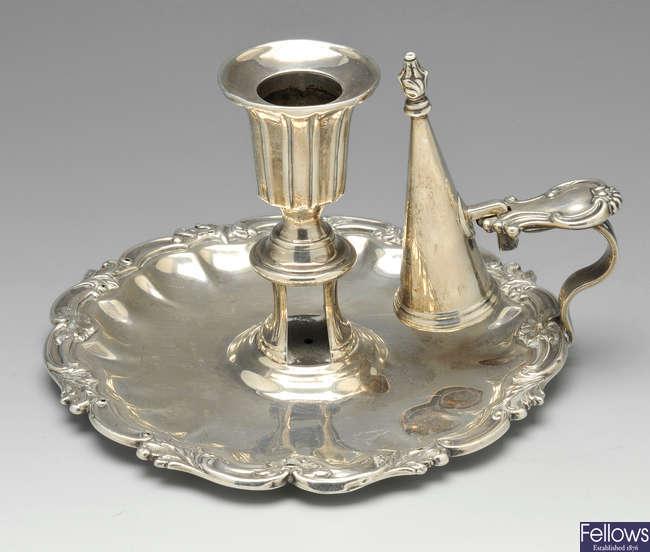A Victorian silver chamberstick.