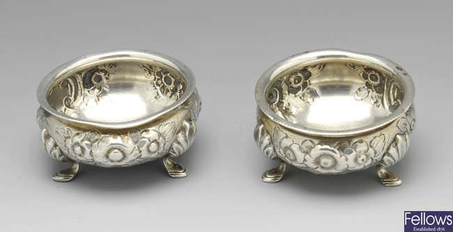 A pair of provincial Victorian silver open salts.