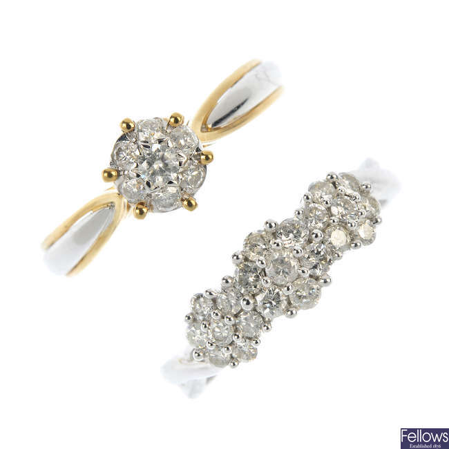 Two 9ct gold diamond cluster rings.