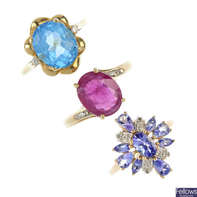 A selection of four gem and diamond-set dress rings.