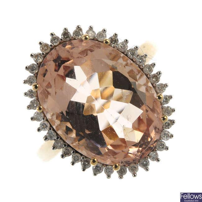 A 9ct gold morganite and diamond dress ring.