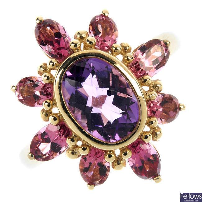 A set of 9ct gold gem-set jewellery.