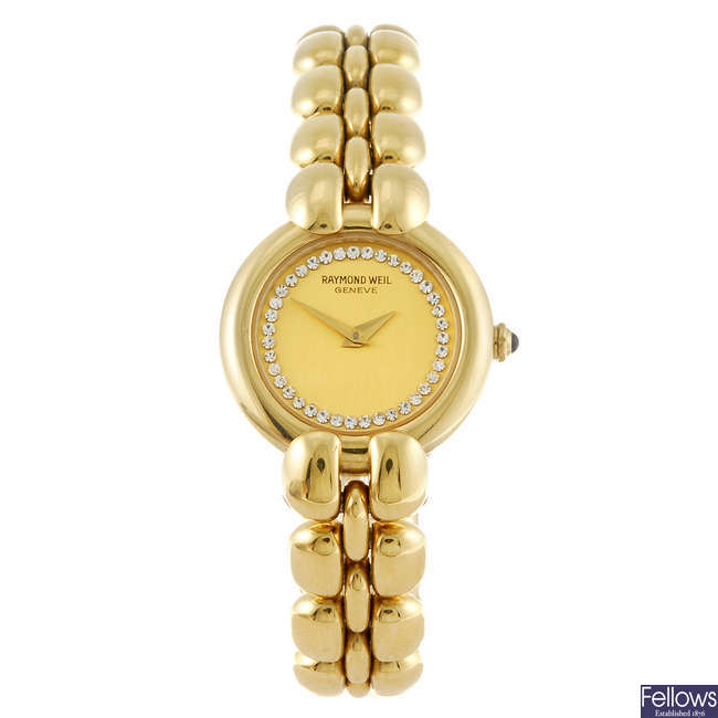 RAYMOND WEIL - a lady's gold plated bracelet watch.