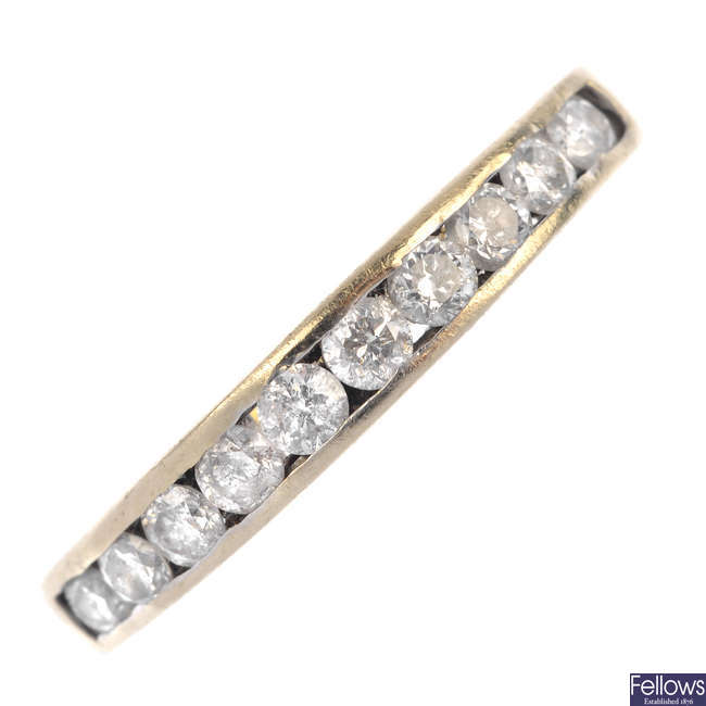 A diamond band ring.