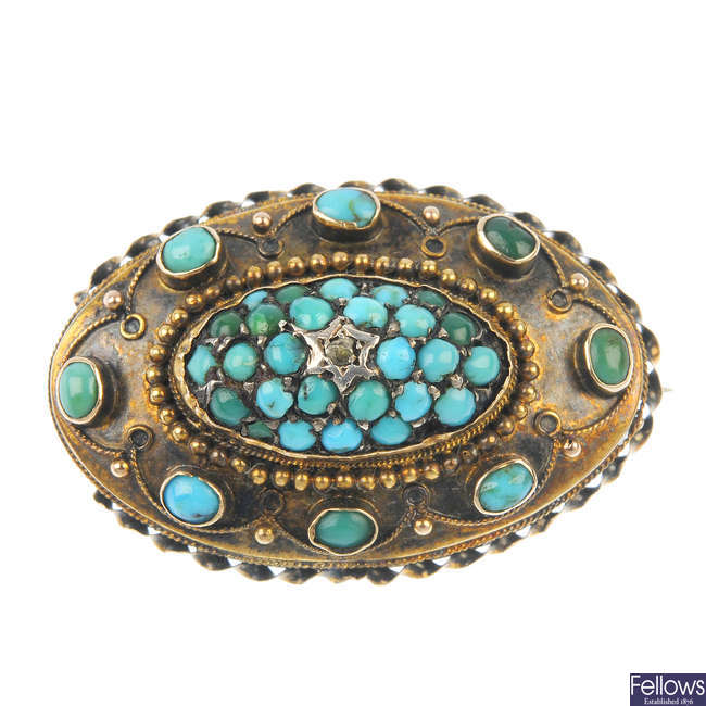 A late Victorian 15ct gold turquoise and diamond brooch, circa 1880.