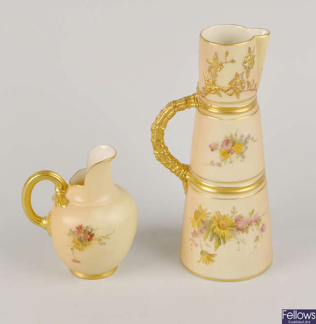Two Royal Worcester blush ivory jugs