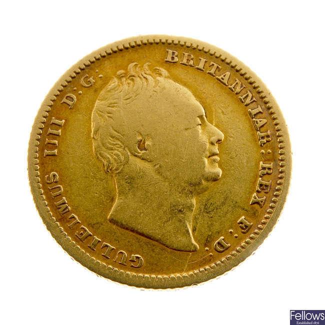 William IV, Half-Sovereign 1837 (S 3831).