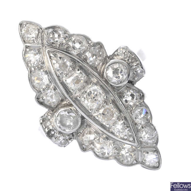 A diamond cluster ring.