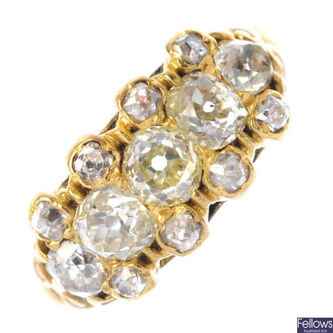 An early 20th century 18ct gold diamond ring.