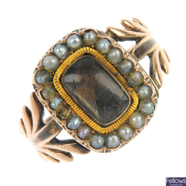 An early 19th century gold split pearl mourning ring.