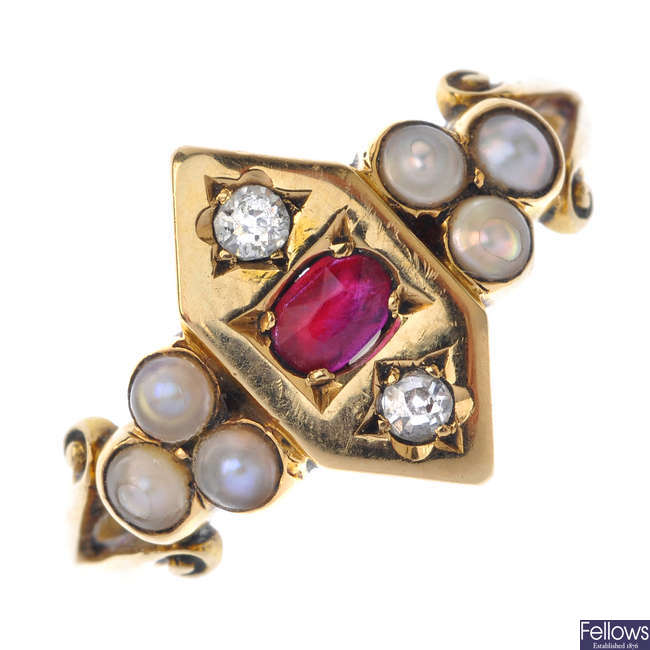 An 18ct gold diamond, ruby and split pearl ring.