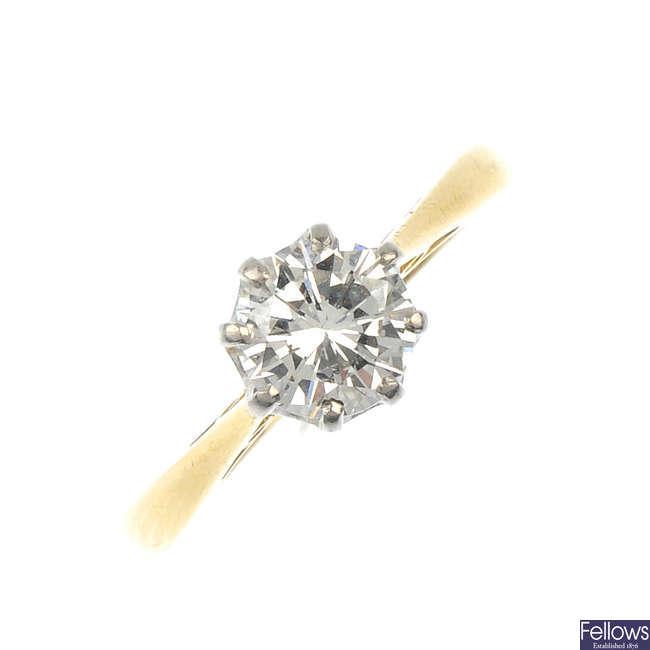 An 18ct gold diamond single-stone ring.