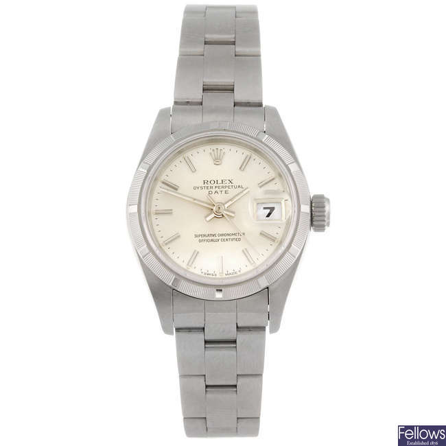 ROLEX - a lady's stainless steel Oyster Perpetual Date bracelet watch.
