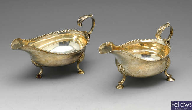 A George III matched pair of silver sauce boats.