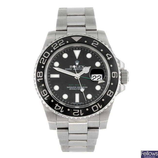 ROLEX - a gentleman's stainless steel Oyster Perpetual Date GMT-Master II bracelet watch.