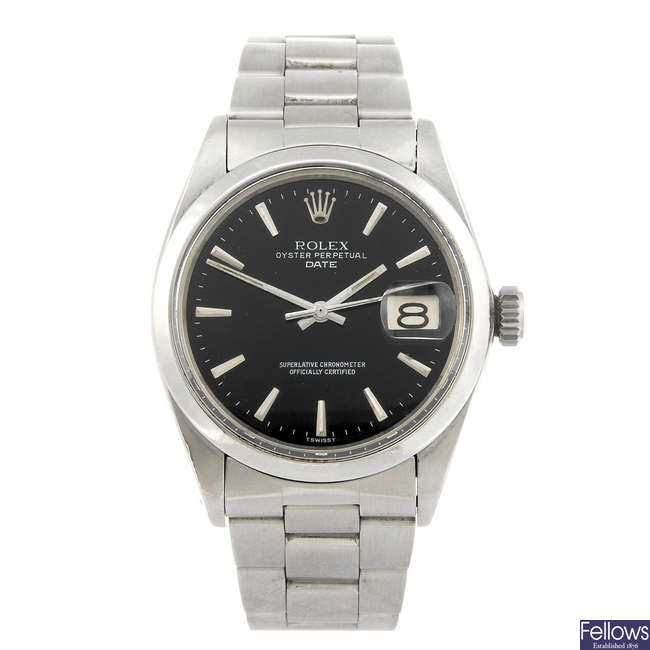 ROLEX - a gentleman's stainless steel Oyster Perpetual Date bracelet watch.