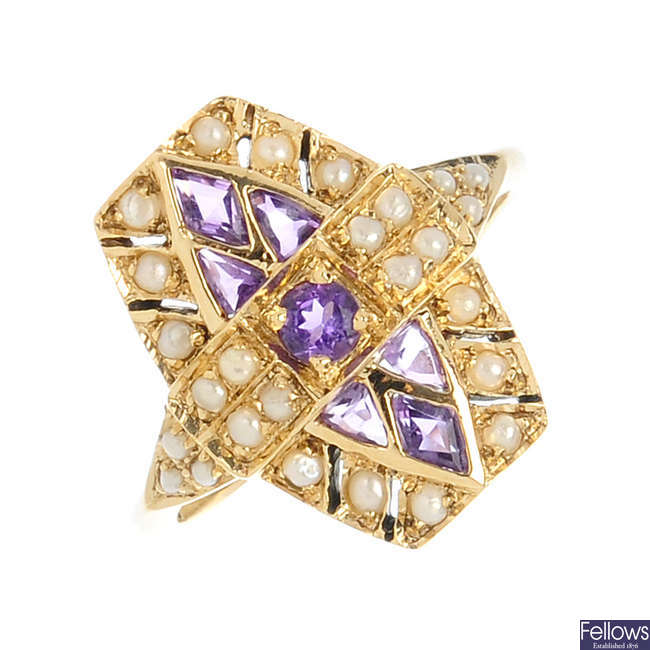 A 9ct gold amethyst and split pearl dress ring.