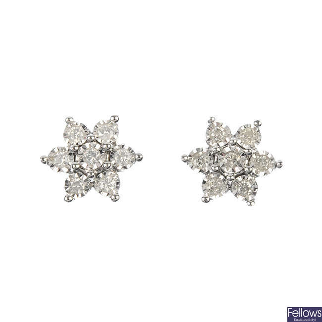 A pair of 9ct gold diamond floral cluster ear studs.
