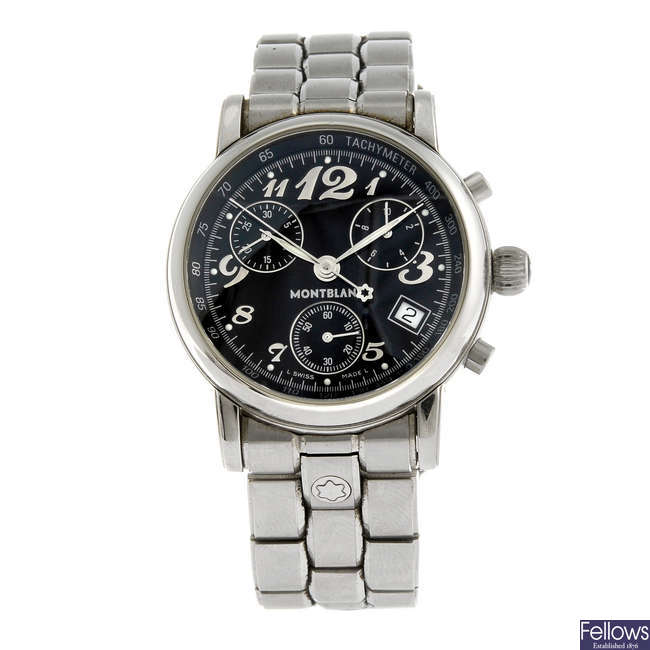 MONTBLANC - a gentleman's stainless steel Meisterstuck chronograph bracelet watch.