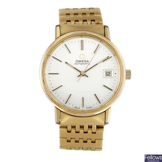 OMEGA - a gentleman's yellow metal bracelet watch.