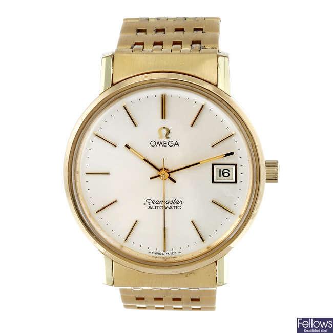 OMEGA - a gentleman's yellow metal Seamaster bracelet watch.