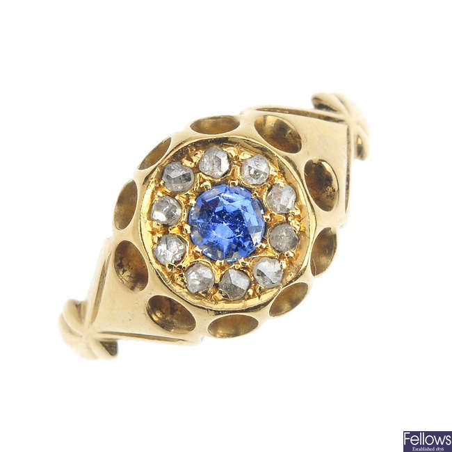 An Edwardian 18ct gold synthetic sapphire and diamond ring.