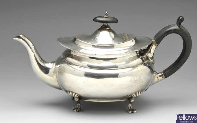 A late Victorian silver bachelor teapot.