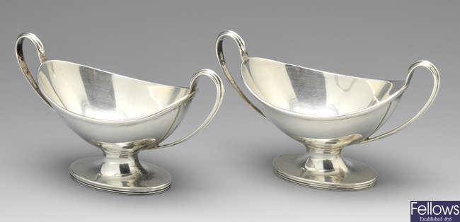 A pair of late Victorian silver pedestal salts.