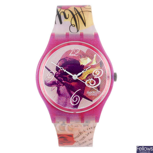 SWATCH - a 'The Magic Spell' wrist watch with 3 other Swatch watches.