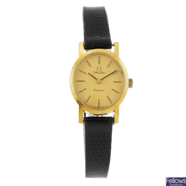 OMEGA - a lady's gold plated Gen�?�ve wrist watch.