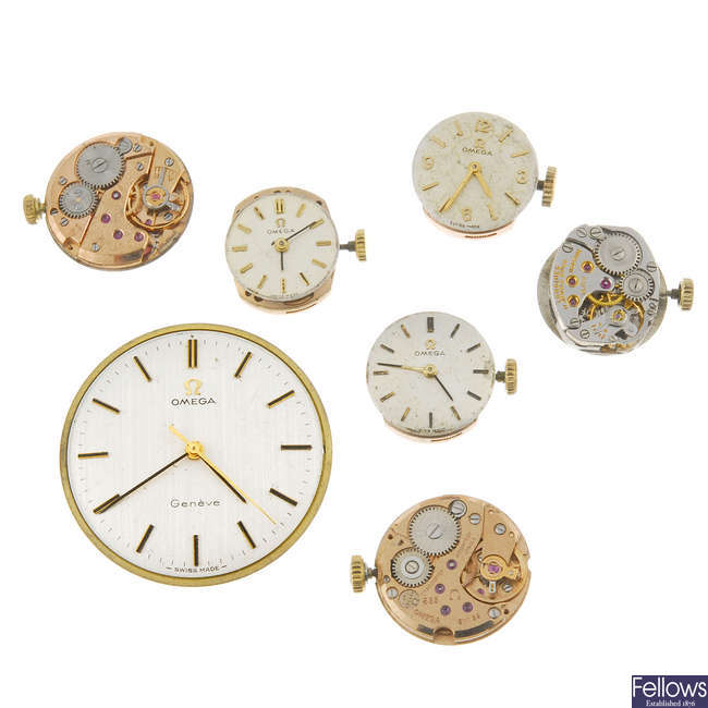 A small group of wrist watch movements, to include Omega and Longines. Approximately 7.