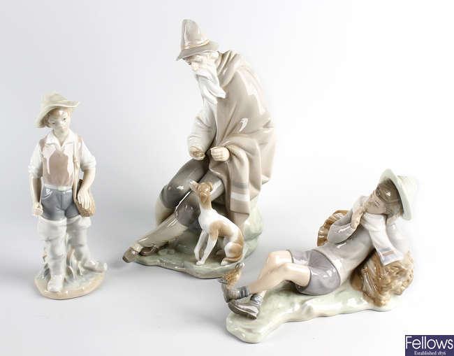 A Lladro porcelain figure, plus two similar