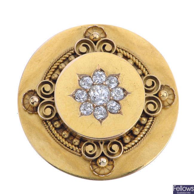 A late 19th century gold diamond memorial brooch.