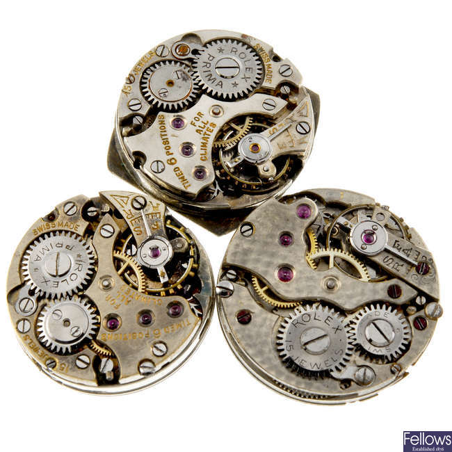 ROLEX - a small group of manual wind watch movements.