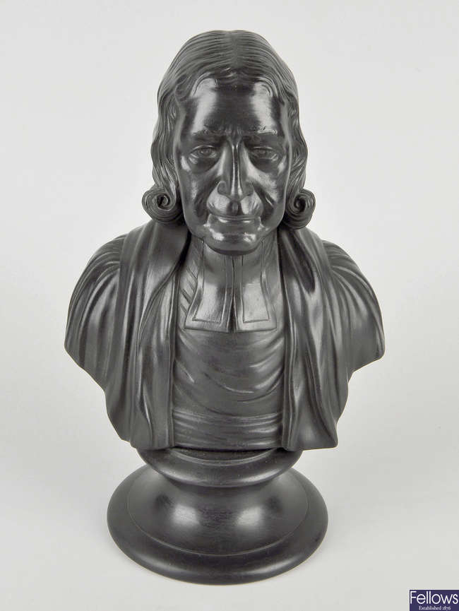 A 20th century Wedgwood black basalt bust of John Wesley