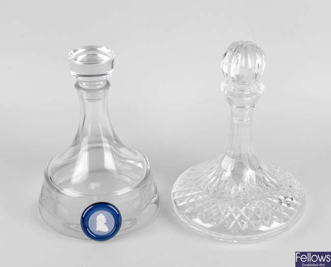 Two ship's glass decanters, etc.