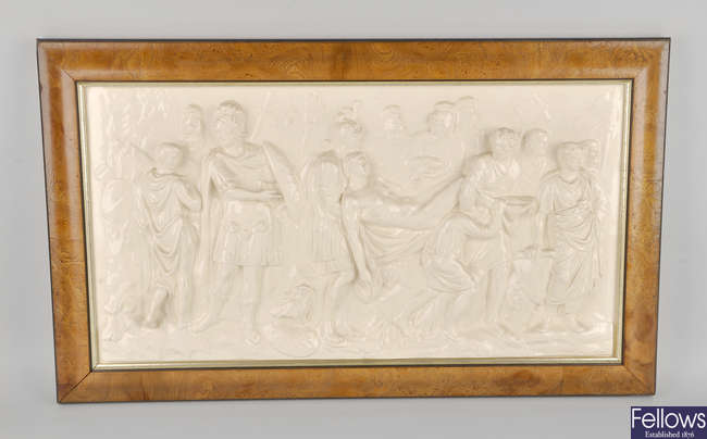 A 20th century  Wedgwood Queen's ware plaque, 'Death of a Roman Warrior'