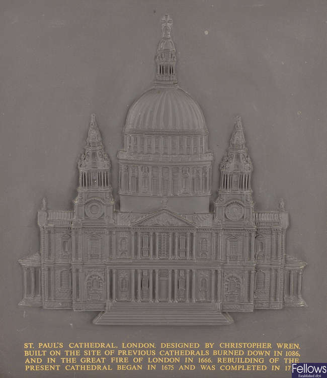 A 20th century limited edition Wedgwood black basalt plaque of St. Paul's Cathedral