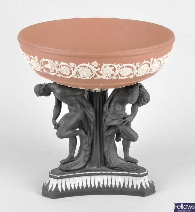 A 20th century Wedgwood terracotta coloured jasperware and basalt 'Michelangelo' bowl