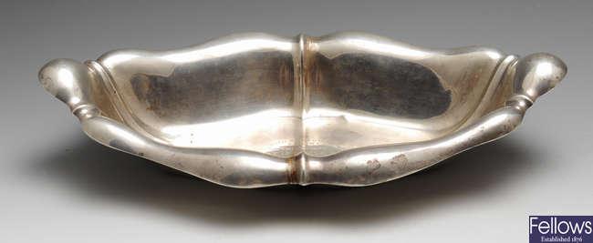 An Art Nouveau silver dish.