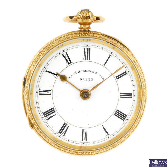 An 18ct gold open face pocket watch by Thomas Russell.