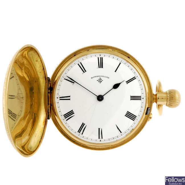 An 18ct gold full hunter pocket watch signed Rotherhams.