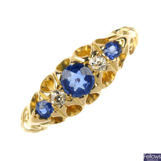 An early 20th century gold sapphire and diamond five-stone ring.